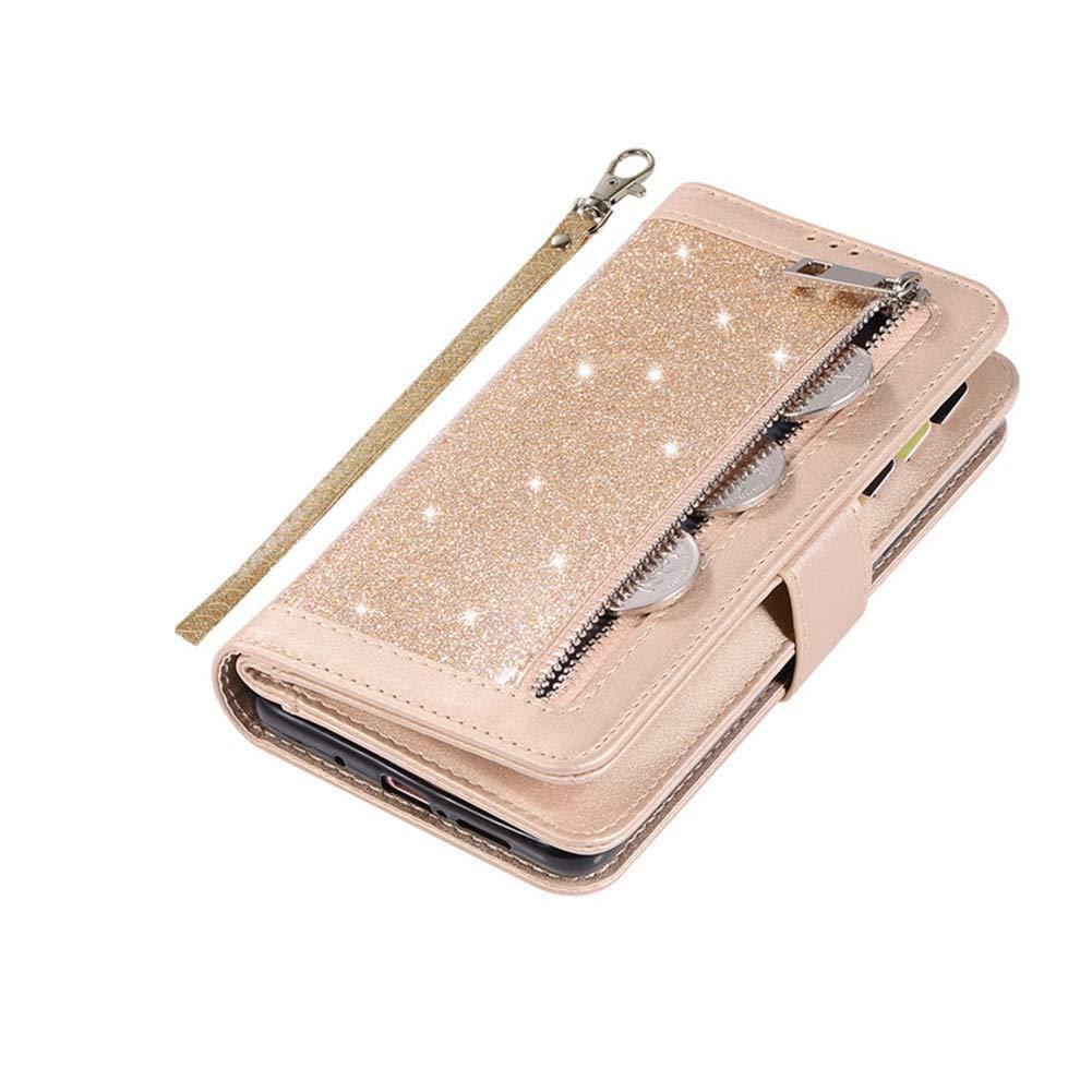Ysimee Compatible con Fundas Samsung Galaxy Note 8 Estuches,Brillante Glitter Libro de Cuero Ultra Delgado Billetera Cartera ,Soporte Plegable,Cierre Magn/ético Flip Cover,Oro 9 Ranuras de Tarjeta