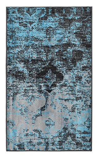Studio Collection Vintage Trellis Lattice Design Contemporary Modern Area Rug Rugs 3 Different Color Options (Trellis Silver Grey / Aqua Blue , 2 x - Lattice 24 Inch