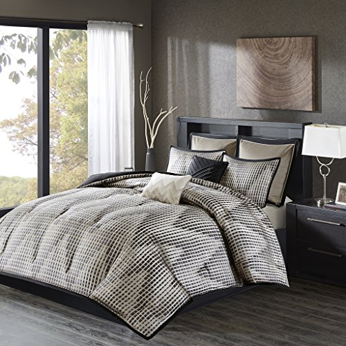 JLA Home INC Madison Park Ashton Cal King Size Bed Comforter Set Bed In A Bag - Black, Grey, White, Jacquard Pixelated Chevron – 8 Pieces Bedding Sets – Ultra - California Bedroom Set Contemporary King