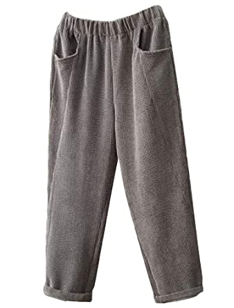 35d7db5c Minibee Women's New Corduroy Pants Loose Fit Trousers With Pockets Grey