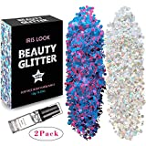 Silver Holographic Face Glitter  HITOP Body Glitter  20g Festival Chunky Glitter with Gel, Cosmetic Face Body Hair Nails (Silver & Purplish Blue)
