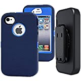 iphone 4 case belt - iphone 4s Holster Case, Auker Military Duty Defender Series Shockproof High Impact Rugged hybrid Rubber Anti Scratch Full Body Protection Case with Screen Protector&Belt Clip for iphone 4s/4 (Navy)
