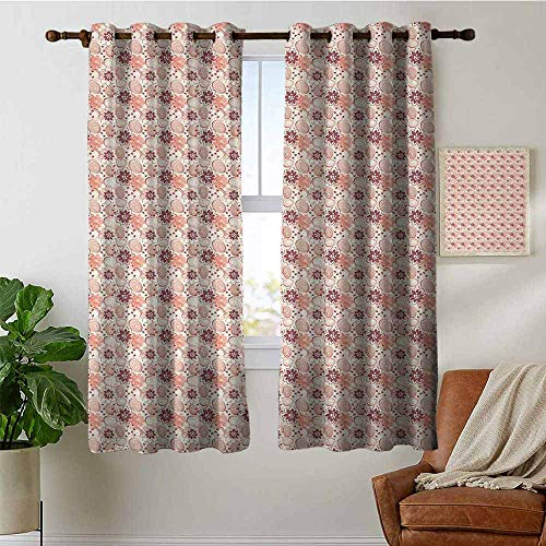 petpany Bedroom Curtains 2 Panel Sets Floral,Abstract Blossoms and Circles with Little Leaves Garden Retro Effect,Beige Orange Dried Rose,Complete Darkness, Noise Reducing Curtain 52