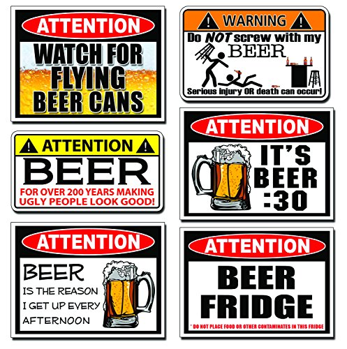 Set Warning Decal (Funny BEER Warning Decal Sticker 6 SIX PARTY JOKE PACK SET)