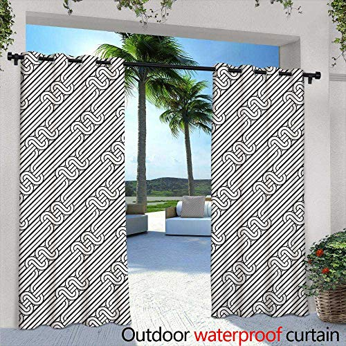 Tim1Beve Outdoor Curtains Abstract Monochrome Classic Curved Line Bands with Diagonal Swirls Optic Effects Graphic Waterproof Patio Door Panel 84