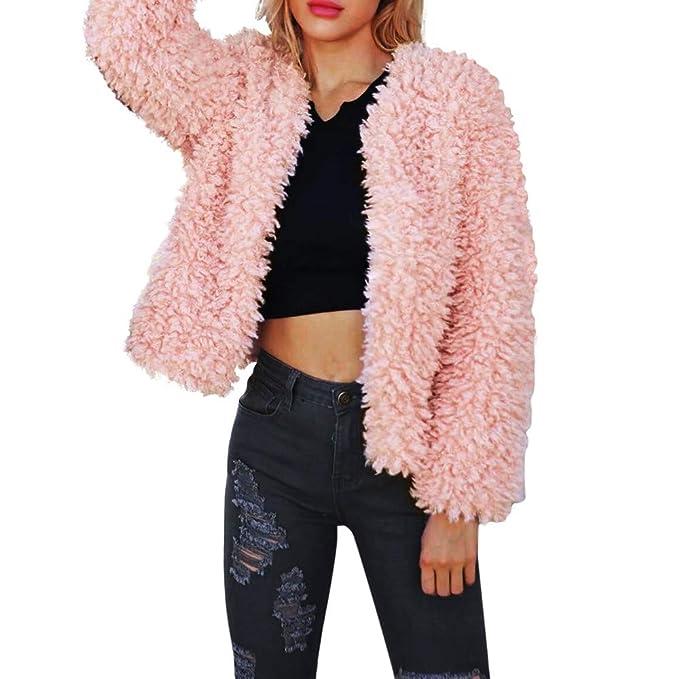 Lenfesh Chaqueta Mujer, Cálida Abrigo Chaqueta Piel sintética de Invierno Abrigos Corta Parkas Color sólido Outwear Coat: Amazon.es: Ropa y accesorios