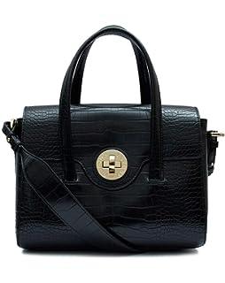 Emporio Armani Black Croc Embossed Medium Cross-Body Bag Black ... 3492c7fefb784
