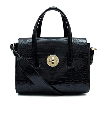 95e0068d13a7 Emporio Armani Black Croc Embossed Tote Bag Black Leather  Amazon.co.uk   Shoes   Bags