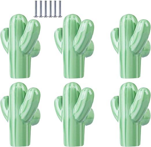 Gettesy cajones armarios y cajones cer/ámica Verde Claro 25 mm 5 x 4,3 x 2,3cm Juego de 6 pomos de cer/ámica con Forma de Cactus y Tiradores de cer/ámica para Puertas de armarios