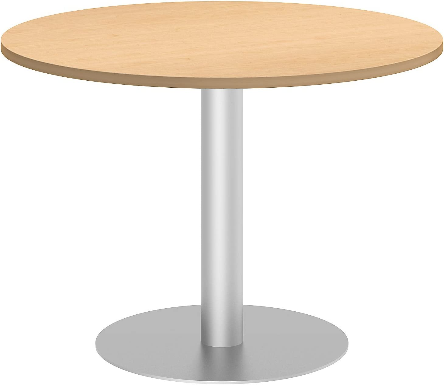Bush Business Furniture 42W Round Conference Table with Metal Disc Base in Natural Maple