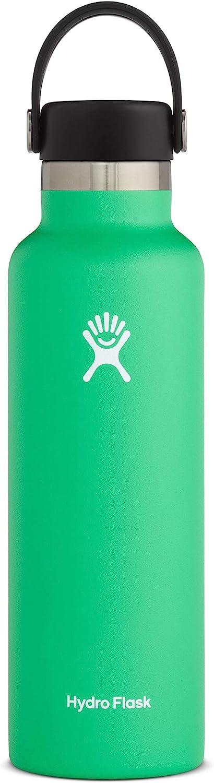 Hydro Flask Standard Mouth Botella de Agua Isotérmica, 18/8 Stainless Steel, Verde (Spearmint), 621ml (21oz)