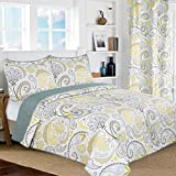 All American Collection New 3pc Yellow/Grey PaisleyPrinted Reversible Bedspread/Quilt Set (Full/Queen Size)