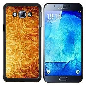 TECHCASE---Cubierta de la caja de protección para la piel dura ** Samsung Galaxy A8 ( A8000 ) ** --Papel pintado de oro de Brown Planta Amarillo
