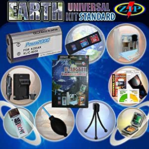 Earth Universal Kit Standard for Kodak EasyShare Zx1, ZxD includes : 1 Klic-8000 1700 mAh Battery, Compact AC/DC Charger with Car adapter, USB 2.0 High-Speed Card Reader/ Writer, LCD Screen Protector Kit, Mini-Wire Tripod and much more.