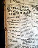 GEORGE EASTMAN Kodak Camera Color Film Home Movies Demonstration 1928 Newspaper THE NEW YORK TIMES, July 31, 1928