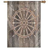 HUANGLING Nautical Ship Wheel Pattern On Wooden Background Marine Sea Captain Home Flag Garden Flag Demonstrations Flag Family Party Flag Match Flag 27''x37''
