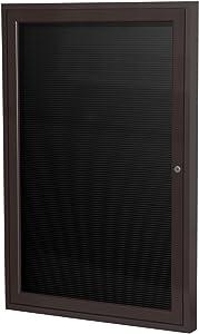 "Ghent 2"" x 1 1/2"" 1 Door Outdoor Enclosed Vinyl Letter Board, Black Letter Panel, Bronze Aluminum Frame (PB121 1/2BX-BK)"