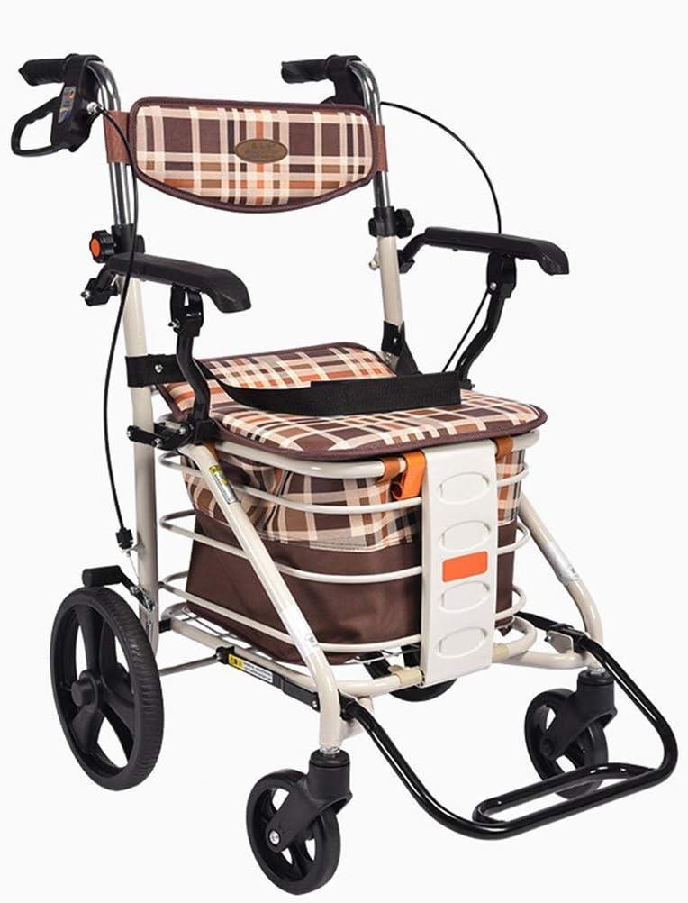 PNYGJZXQ The Elderly Walker, Carrito de Compras, Andador de Aluminio con Ruedas de Cuatro Ruedas, Asiento y Canasta de Compras, Altura Ajustable, diseño Ligero y Seguro, Palanca de Freno