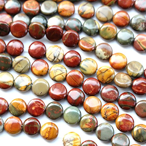 Jasper Coin Beads - Natural Color Picasso Jasper Gemstone Loose Beads Findings Jewerlry Making (Coin 8mm)