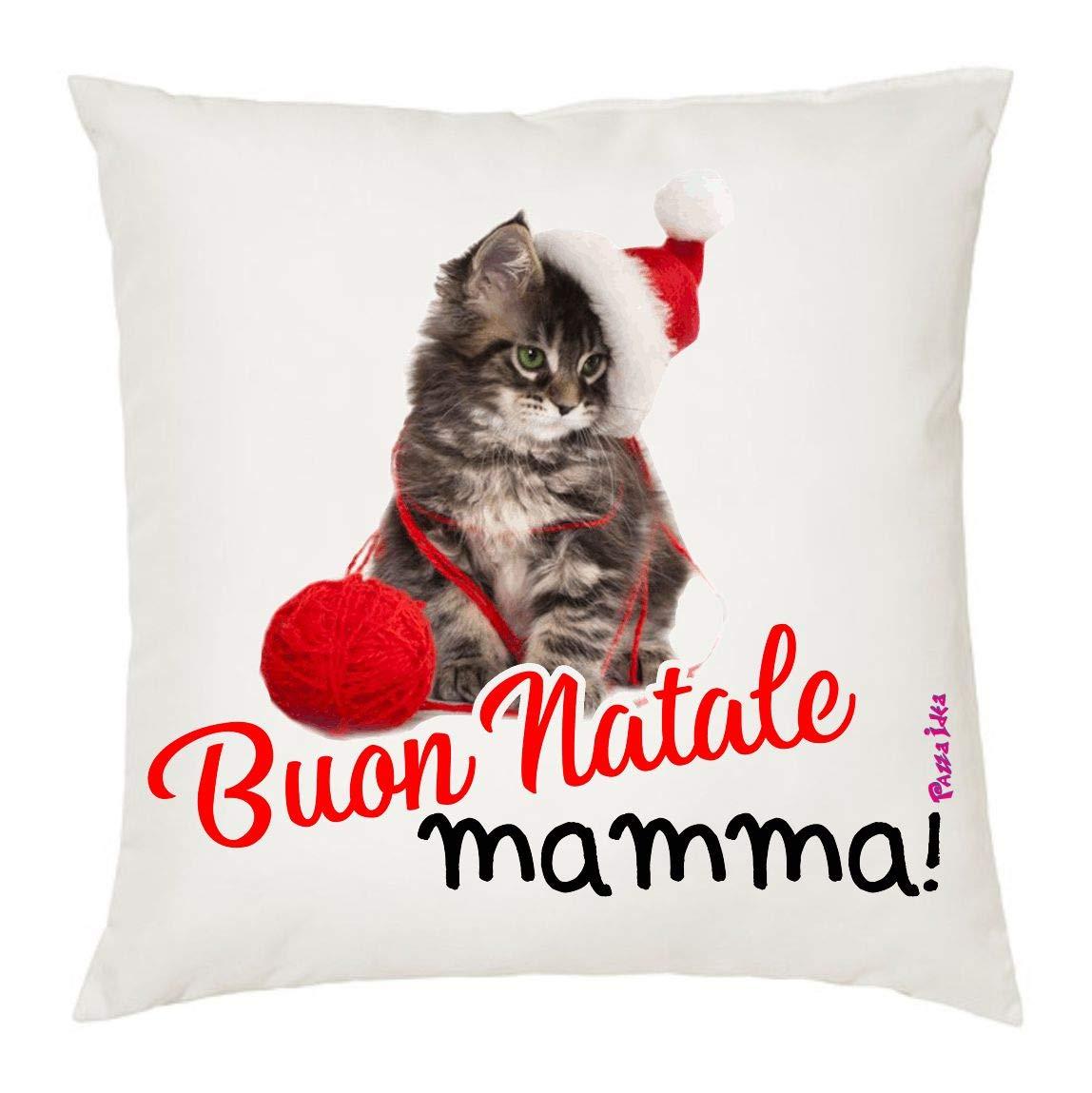 Cuscino 40x40 Scritta Buon Natale Mamma Idea Regalo Natale Disegno Gatto