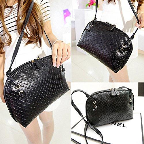 Chaufly Bolso tejido bolso retro mini diagonal mini bolsa de mensajero Negro