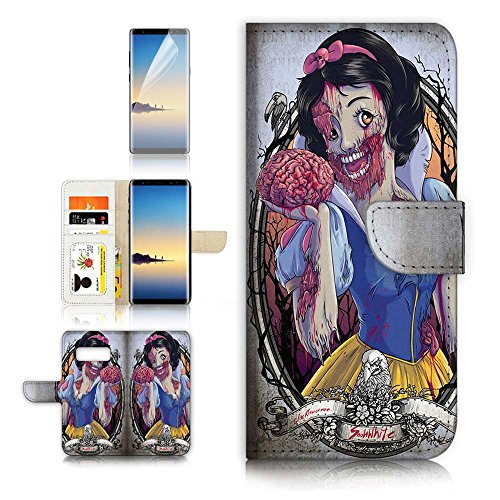 (( For Samsung Note 8 , Galaxy Note 8 ) Flip Wallet Case Cover & Screen Protector Bundle - A40115 Zombie Snow)