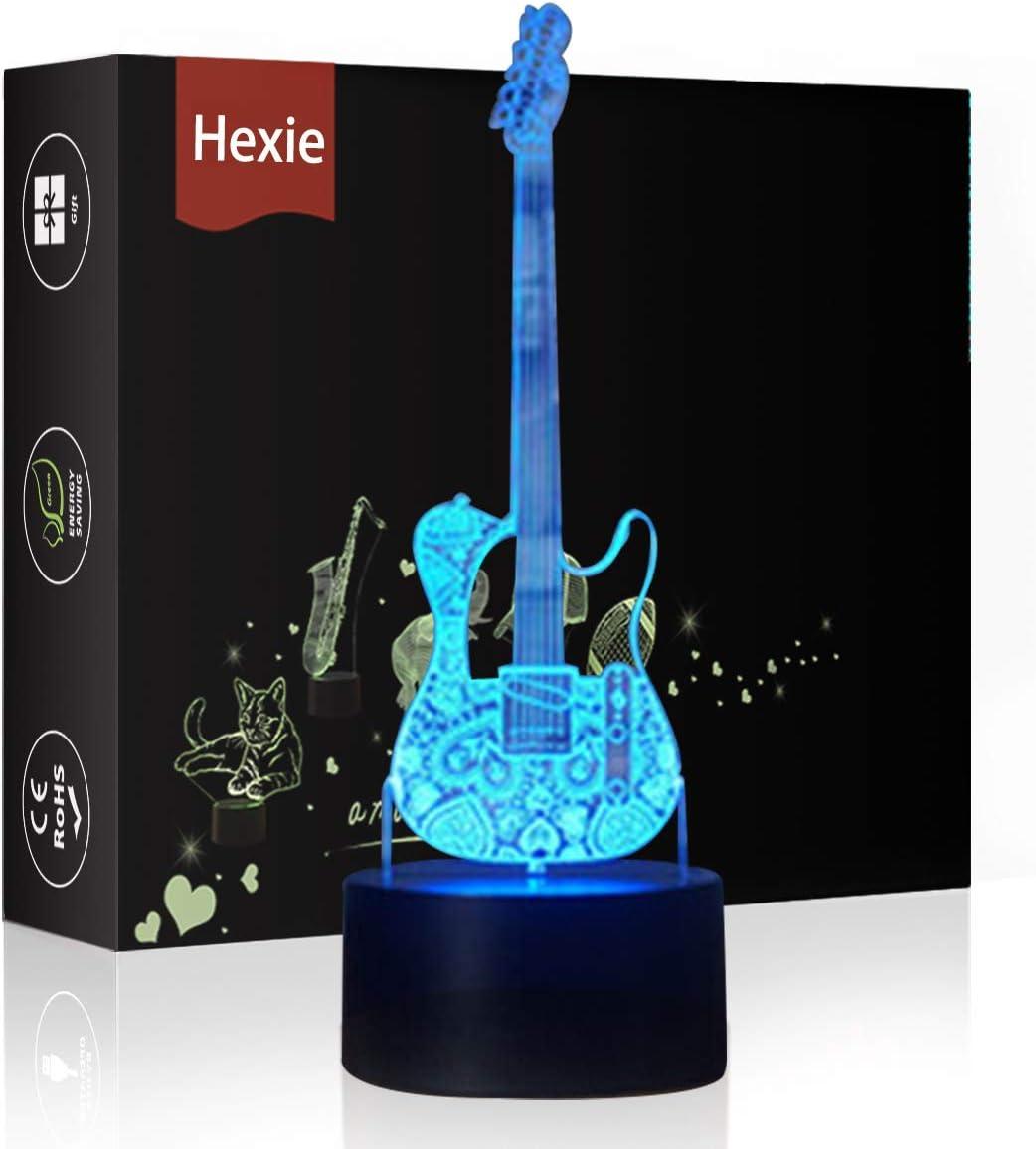 Lámpara de mesilla de noche con luces LED 3D Hexie, iluminación de 7colores cambiante con botón táctil, regalo creativo, decoración ideal (guitarra)