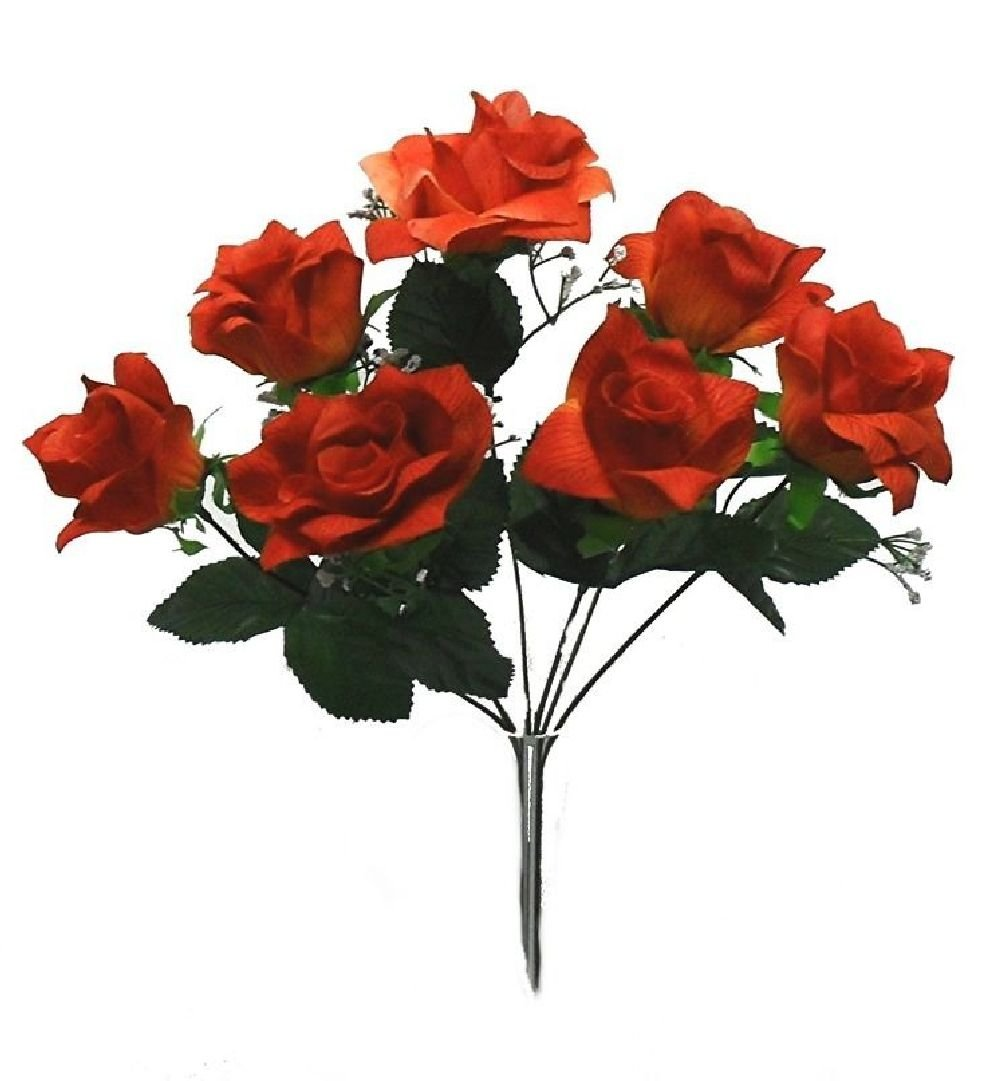7 Open Rosesダークオレンジウェディングブライダルブーケソフトシルク花センターピース B074NR1WP4