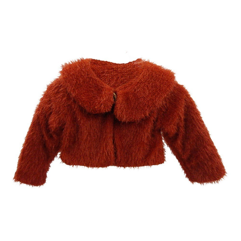 Little Girls Red Trendy Collar Soft Beautiful Design Faux Fur Jacket 2-5
