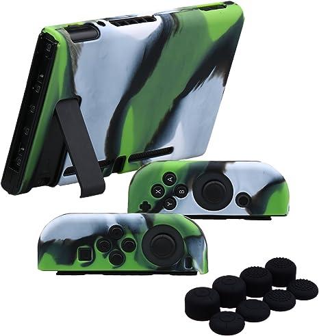 YoRHa Empuñadura silicona caso piel Fundas protectores cubierta para Nintendo Switch/NS/NX Joy-Con Mando y Tableta x 3 (Camuflaje verde) Con Joy-Con los puños pulgar thumb gripsx 8: Amazon.es: Videojuegos