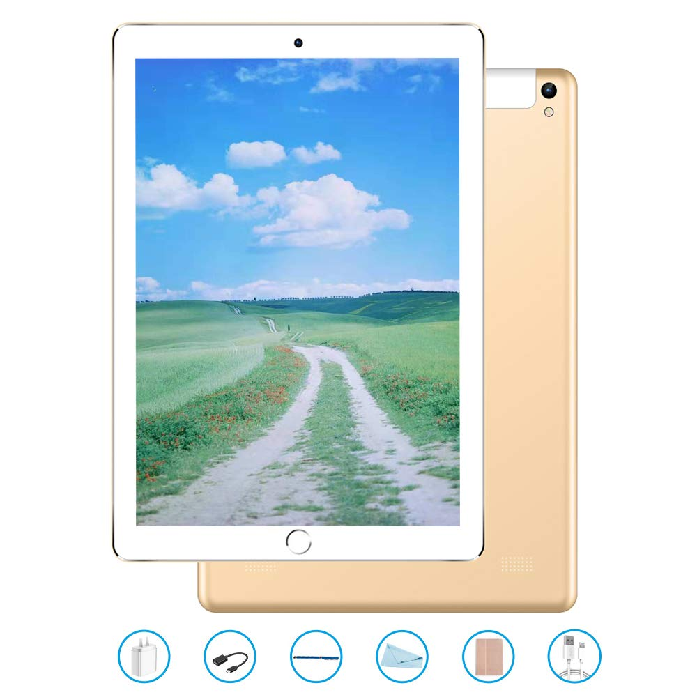 Tablet 10.1 Pulgadas, Android 7.0 Tablet PC con Ranura para Tarjeta SIM Dual, 3G, gsm, Quad Core, 3 GB de RAM + 32 GB ROM, cámara Dual incorporada, Bluetooth 4.0, Wi-Fi y GPS (Dorado)