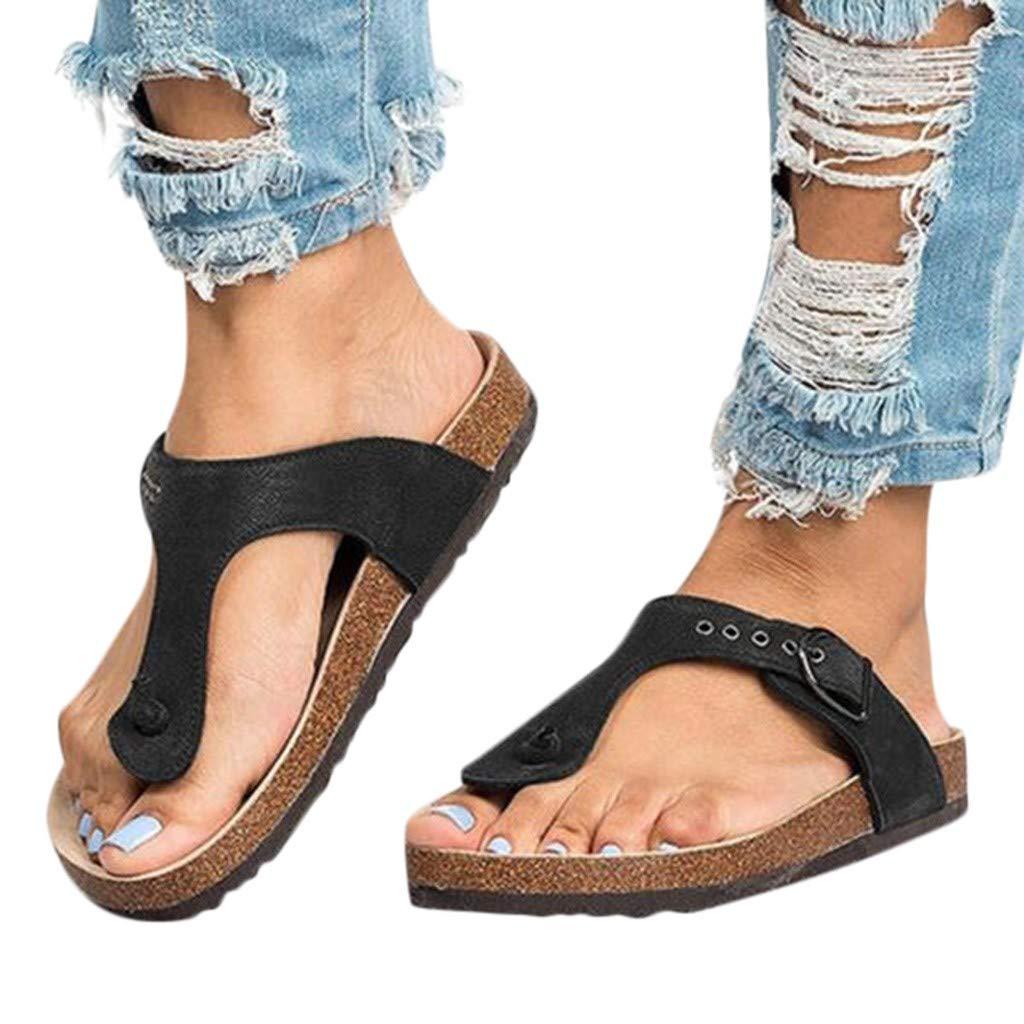 Duseedik Summer Women's Slipper Ladies T-Strap Comfortable Flat Heel Flip Flops Beach Outdoor Roman Shoes Black