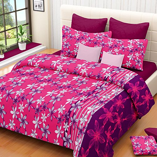 Vintana Pink Cotton Double Bedsheet With 2 Pillow Covers – Floral Print