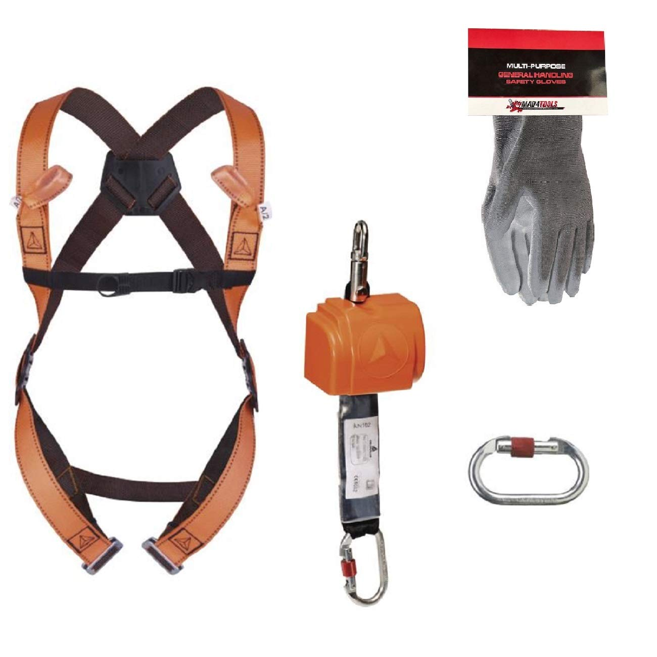 Delta Plus ELARA140 Fall Arrester System and Safety Gloves (S-L) mad4tools