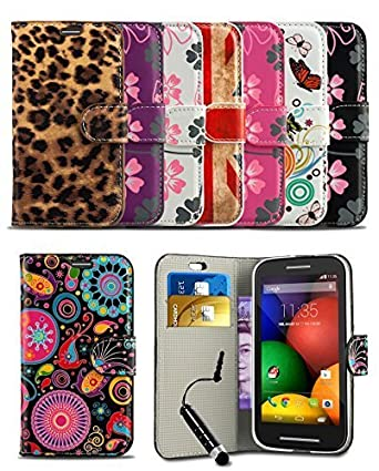 Stylish Pattern Modern Print Design Wallet Flip Case Cover With Integrated Stand & Mini Stylus Pen