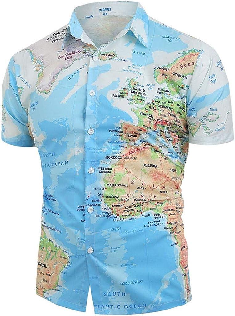 Camisa Estampada mapamundi para Hombre Hawaiana Blusa de Manga Corta de Verano Slim fit Camisas Azul L: Amazon.es: Ropa y accesorios