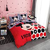 CASA Children 100% Cotton Mickey Series Mickey Duvet cover and Pillow cases and Fitted Sheet,Duvet cover set,4 Pieces,Full