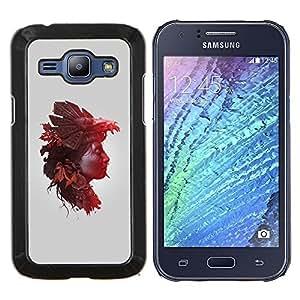 KLONGSHOP // Cubierta de piel con cierre a presión Shell trasero duro de goma Protección Caso - Mujer de la naturaleza Hojas de otoño - Samsung Galaxy J1 J100 //