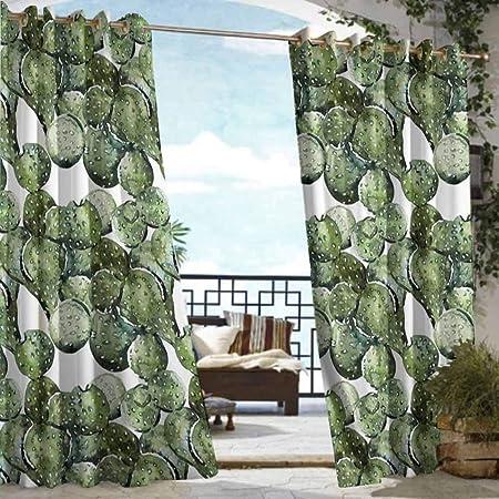 DILITECK - Cortina para Puerta de Exterior con diseño de Cactus en Forma de corazón y Flores Amarillas con Picos de Opuntia para Patio/Porche Frontal, Verde, Amarillo, Naranja: Amazon.es: Jardín
