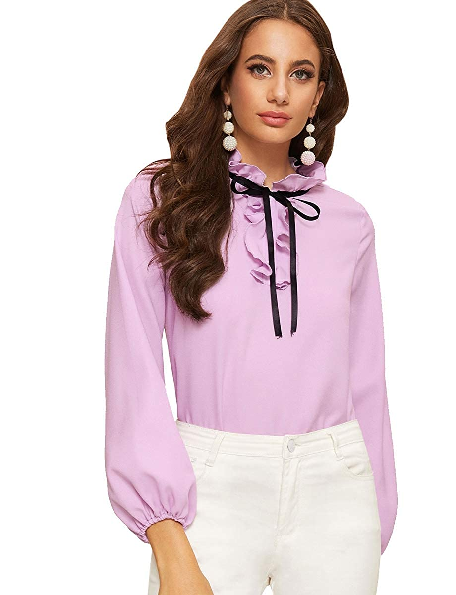 Purple Romwe Women's Solid Elegant Bow Tie Neck Long Sleeve Work Office Blouse Top