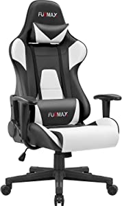 Furmax High-Back Gaming Office Chair Ergonomic Racing Style Adjustable Height Executive Computer Chair,PU Leather Swivel Desk Chair (Black/White)