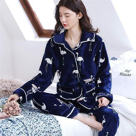 JIANGSHANSHAN Pijama de Franela para Mujer otoño e Invierno ...