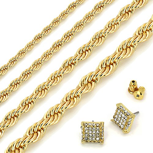 L2JK 14K Gold Plated Hip Hop High Fashion Rope Chain Necklace 3mm - 6mm/20