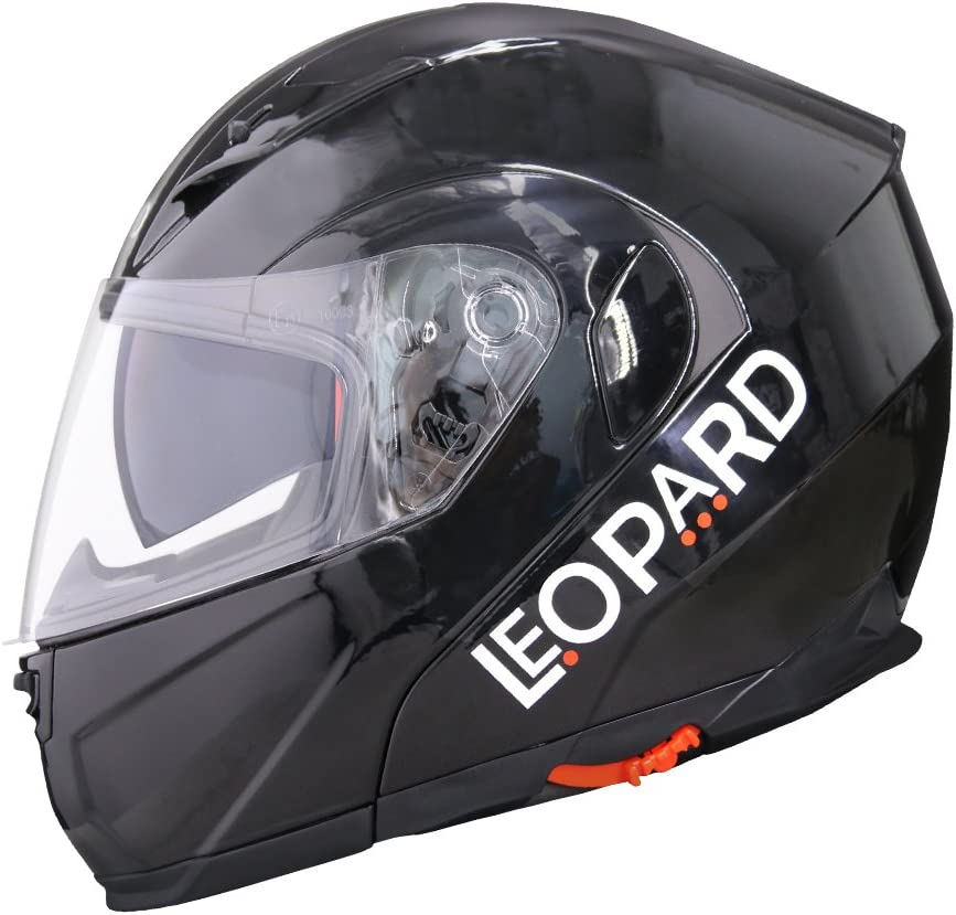 Leopard LEO-838 Modular Flip up Front Motorbike Motorcycle Helmet 55-56cm Extra Mirrored Visor Black S