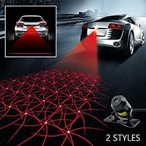 Car Laser Fog Lamp - Universal Cars and Motorcycle Rear-end Alarm LED Tail Light for Brake Parking Anti-Collision Warning Safety Lights (Straight Line & Grid Pattern)