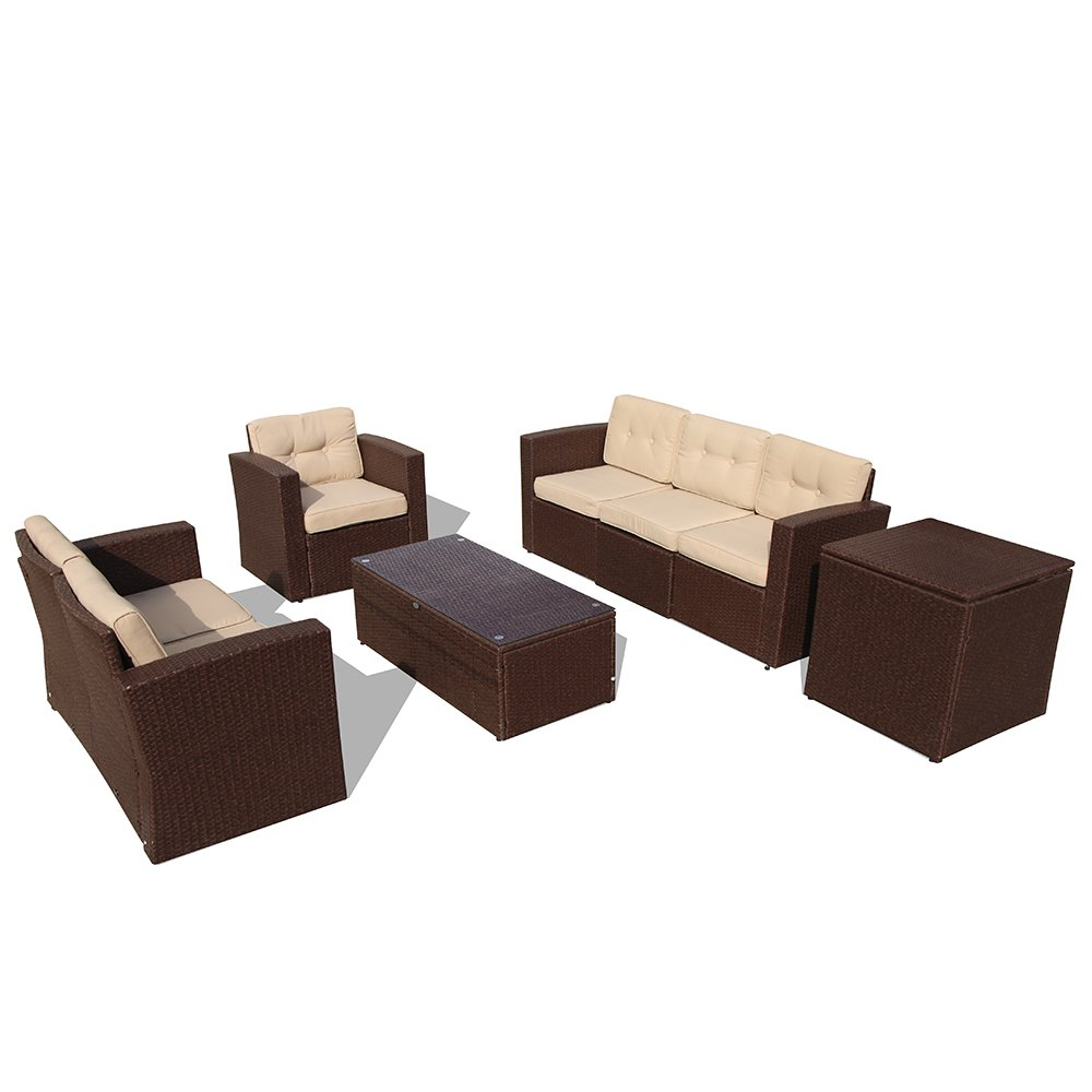 PATIOROMA Outdoor Furniture Sectional Sofa Set (8-Piece Set) All-Weather Brown Wicker with Beige Seat Cushions & Glass Coffee Table & Wiker Storage Box| Patio, Backyard, Pool|Aluminum Frame