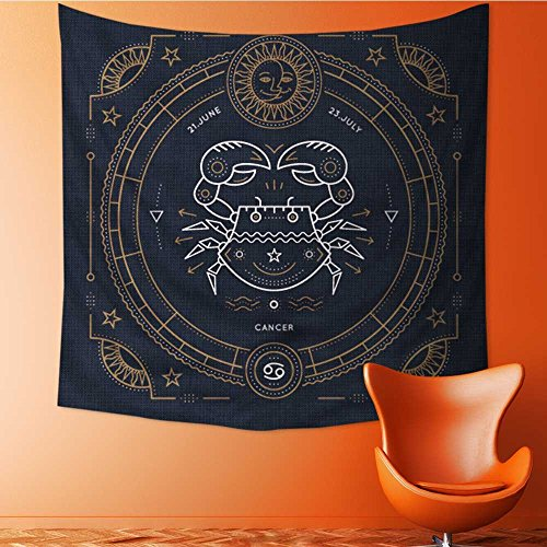 AuraiseHome Wall Decor Tapestries Vintage Thin line Cancer Zodiac Sign Label Retro Vector Astrological Symbol Tapestry Coverlet Curtain32W x 32L Inch ()
