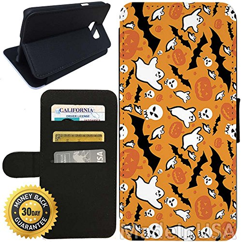 Flip Wallet Case for Galaxy S7 (Spooky Halloween Pattern) with Adjustable Stand and 3 Card Holders | Shock Protection | Lightweight | Includes Stylus Pen by (Halloween Cards Etsy)