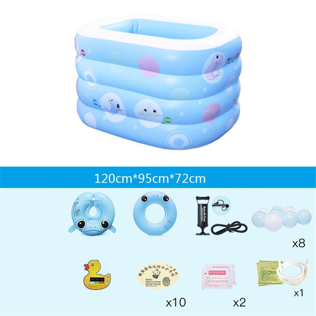 Bing BINGEngrosado ecológico PVC Niños de la Familia de Natación Plegable Plaza Inflable bebé Piscina 120  95  72 cm para 1 Persona Inflable Bomba de Mano