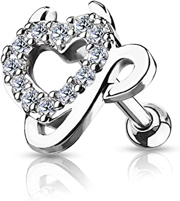 WildKlass Jewelry Gem Paved Heart Top 316L Surgical Steel Tragus//Cartilage Sold by Piece